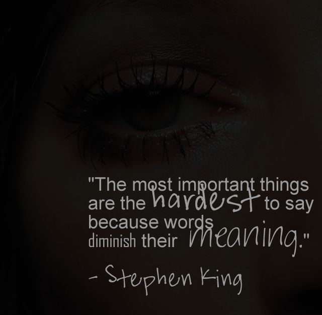 The most important things are the hardest to say because words diminish their meaning.- Stephen King