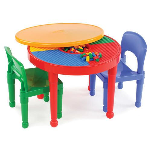 Round Plastic Construction Table 2 Chairs Play Legos Kids Dining Building Blocks #1