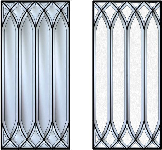 "This is a stunning Beveled Glass cabinet insert.    Every single piece of glass in this design is Hand Cut and Beveled.    This design is often referred to as ""YorkShire""."