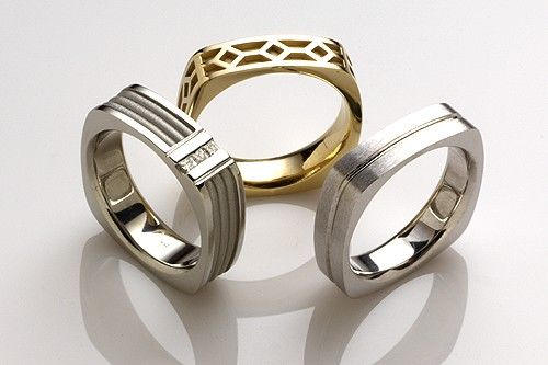 It's hip to be square! Awesome wedding ring ideas for something different and unique. These square corner men's wedding rings can be made in white gold, yellow gold, rose gold or platinum. Rings can be customized for a one-of-a-kind design. See more of our unique men's wedding rings.