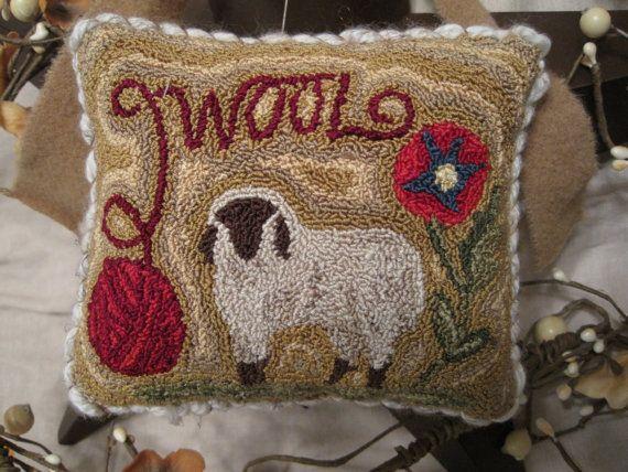 Primitive Punch Needle Wool Yarn Sheep Fl Pin Keep Mini Pillow