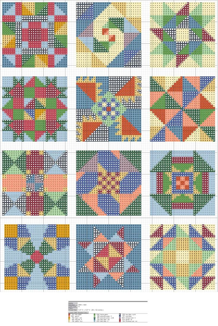 quilt squares. Fantistic! thanks for the share. great chart, and includes floss numbers. Not one to leave well enough alone, I will probably tweak the colors to fit a different scheme, but I'm really thrilled with this.