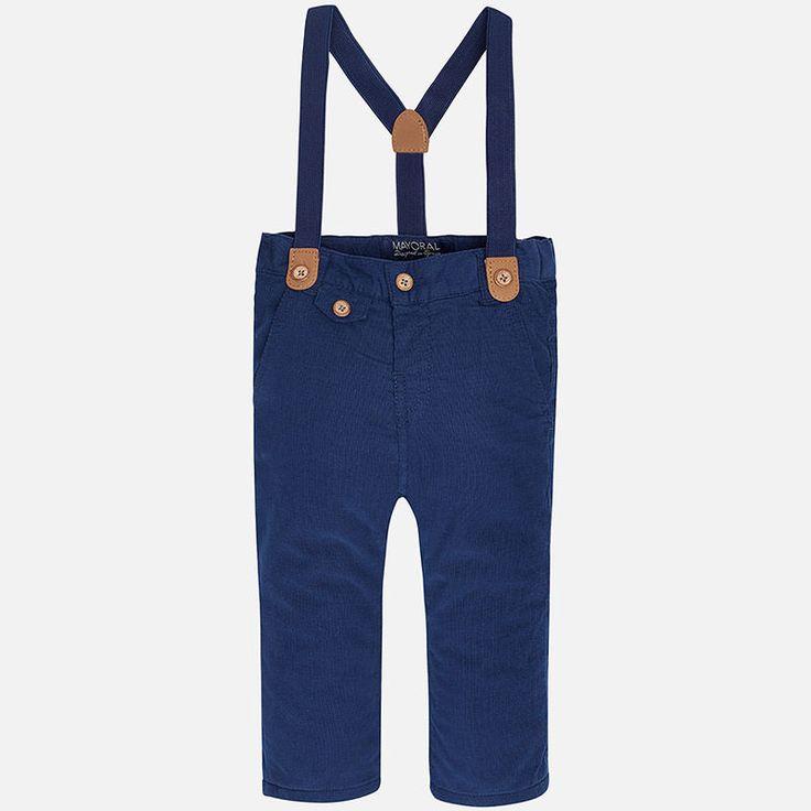 Παντελόνι μικροκοτλέ τιράντες Μπλε