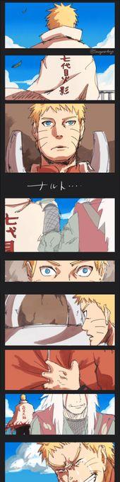 Jiraiya with Naruto on the day he becomes hokage