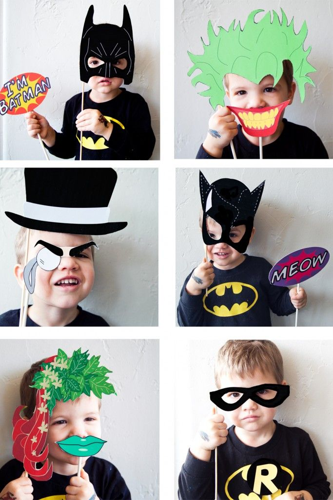 Photo booth for all of the kids and send pics home with thankyou cards Batman Party with FREE Photobooth Mask + Prop Printables