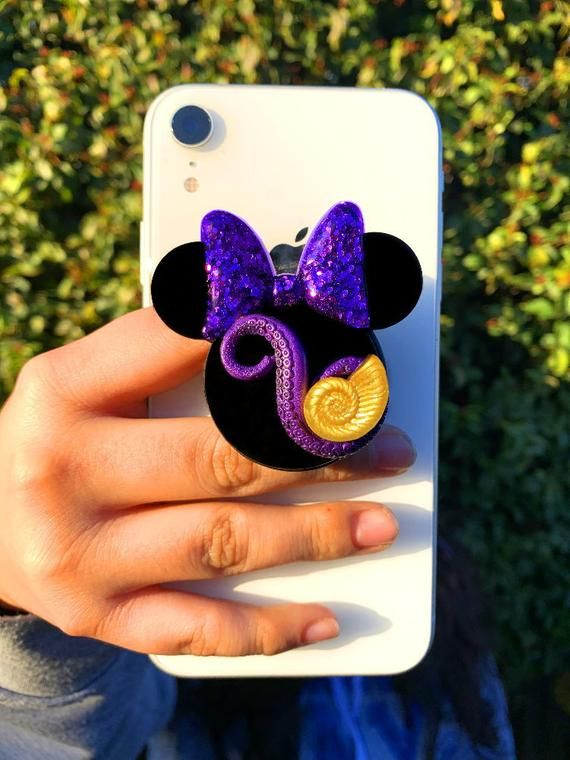 Fun Decorate Pink Purple Sparkle Pop Socket Mickey Glitter Phone Socket White