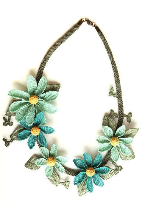 Silk Turkish needle lace igne oya necklace turquoise by MiSTANBULcom, $68.00