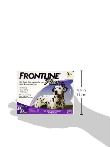 Frontline Plus is a monthly topical flea and tick preventative for dogs and cats.  Frontline Plus kills 100% of adult fleas on your pet within 18 hours and 100% of all ticks within 48 hours.  Frontlin...