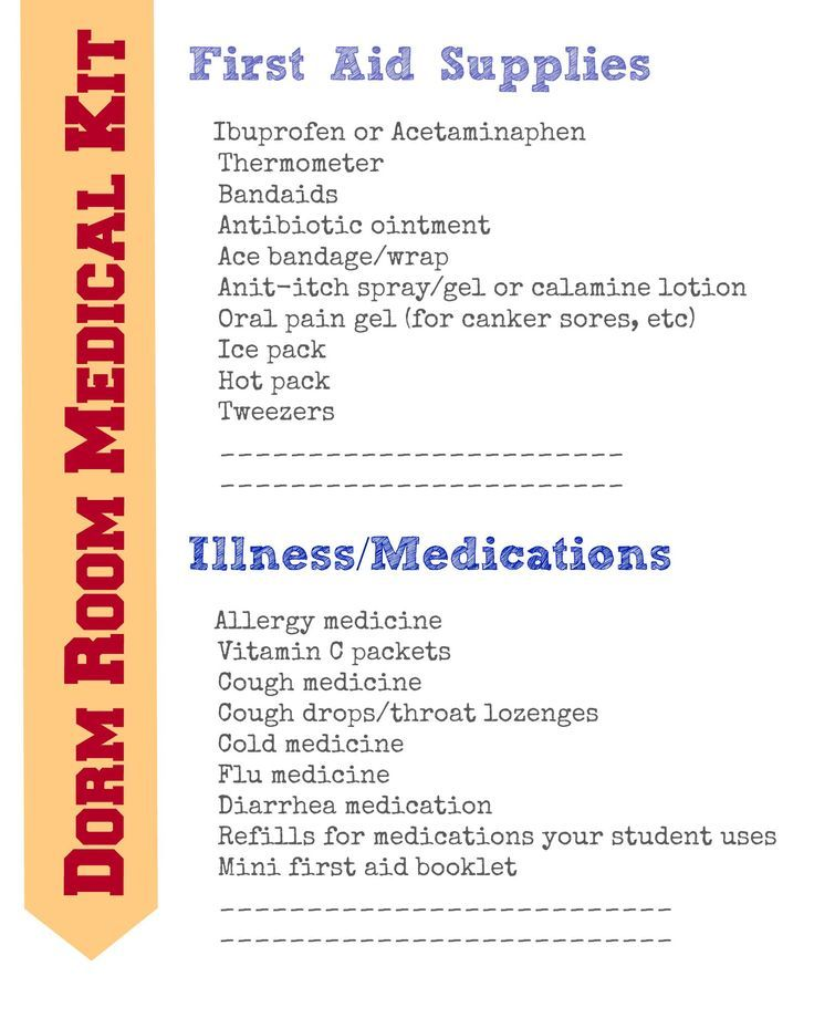Great list {free printable} of what to include in a first aid kit for college students! Made one for my son & he's already used it 3 times