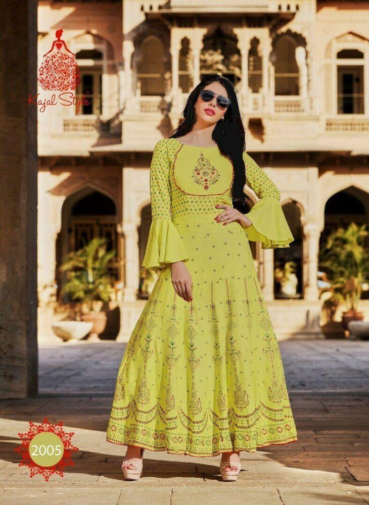 Indian Bollywood Designer pakistani gown Kurta Kurti women ethnic dress cotton