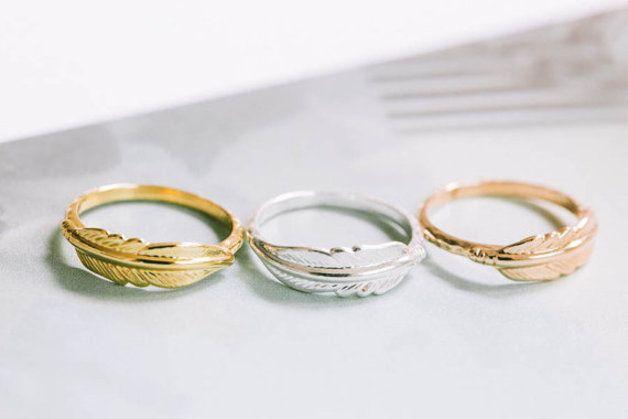 Ringe - Knuckle Ring *Feder* Gold/Rosegold - ein Designerstück von Om-Sweet-Om bei DaWanda