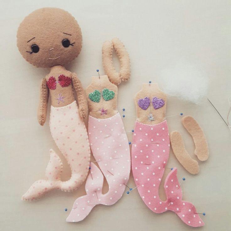 Working on three new Mermaid Girl pattern kits.