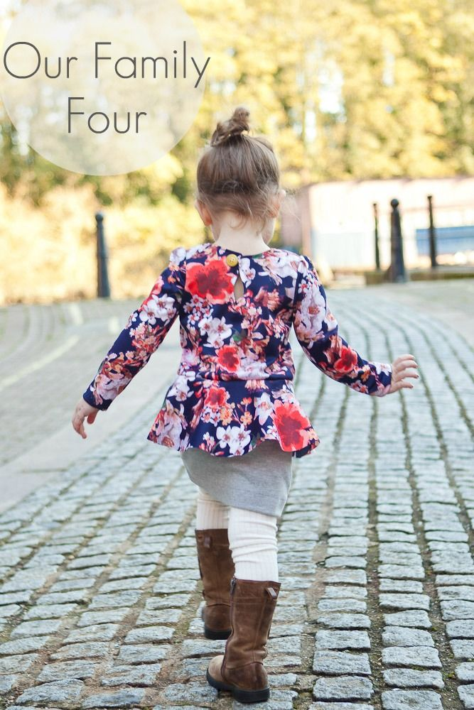 Pretty in Peplum Dress at Our Family Four  #sewing #sewingtutorial #sewingpattern #sewmuchado #diy #pdfpattern #girlsdresspattern #dresspattern #peplumdresspattern #peplumpattern