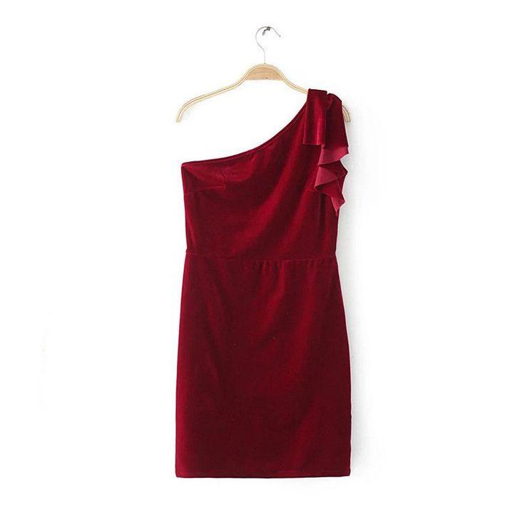 Women sexy one shoulder ruffles velvet dress sheath vintage sleeveless female ladies casual streetwear bodycon dresses
