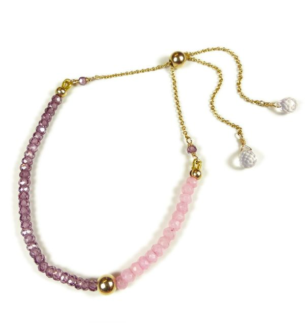 Mounir adjustable bracelet on 14ct gold filled with pink agate and garnet zircon faceted beads. Retailing at £57. http://www.mounir.co.uk/index.php?route=product/product&path=60_113&product_id=1976&limit=100 #bracelets #goldfilled #pinkagate #garnetzircon #mounirjewellery #adjustablebracelets