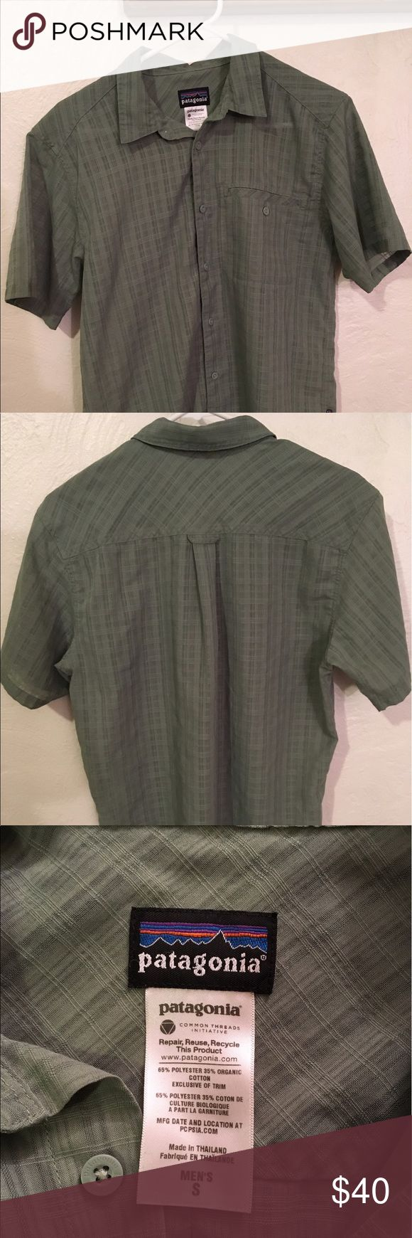 """Patagonia Men's Puckerware Shirt, Size Small Patagonia Men's Puckerware Shirt, Size Small. Lightweight, textured recycled polyester and organic cotton blend lifts away from skin and wicks moisture, even in humidity! Left-chest patch pocket, straight hem with side vents. Pre-owned but in excellent condition. Made in Thailand.  Approximate measurements are as follows: Armpit-to-armpit = 19.5"""". Collar to coat-tail = 28"""". Patagonia Shirts Casual Button Down Shirts"""