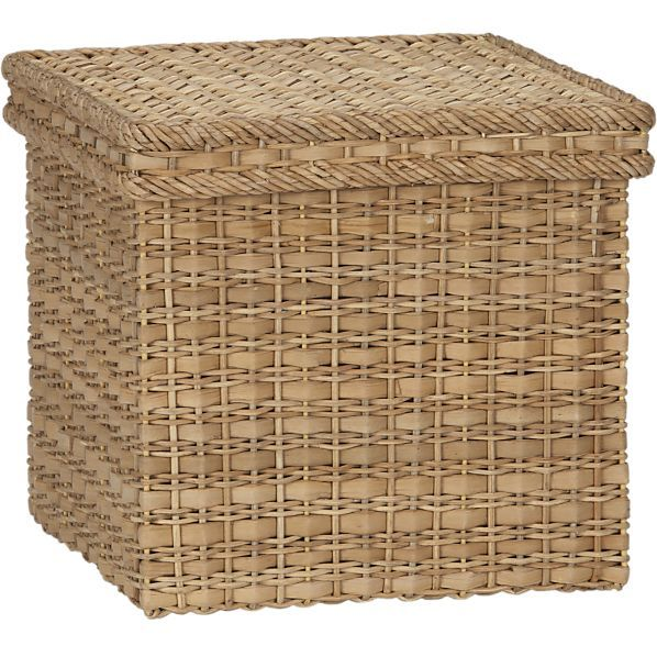 Palma Small Square Lidded Basket In Storage Baskets Bins