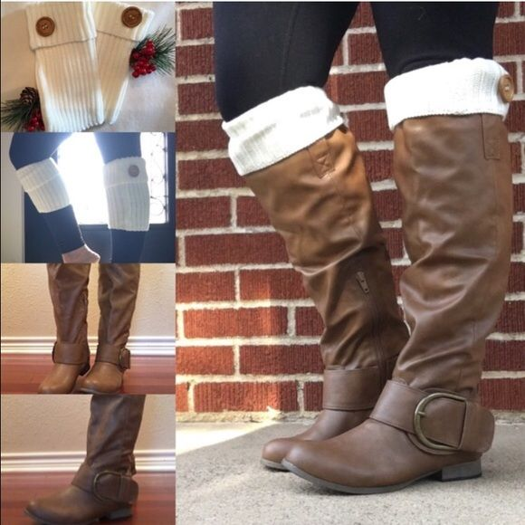 Tall brown boots AND boot cuffs bundle New tall brown boots with buckle on the side very cute and stylish. Also comes with white boot cuffs. Charles Albert Shoes Winter & Rain Boots