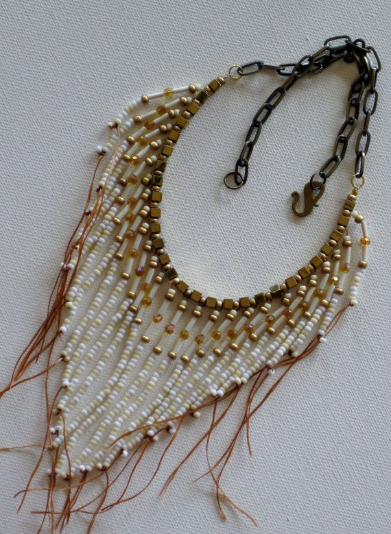 Native American style tribal fringed collar necklace in gold, tan and white
