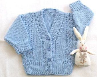 Baby cardigan with bunnies 6 to 12 months Baby by LurayKnitwear
