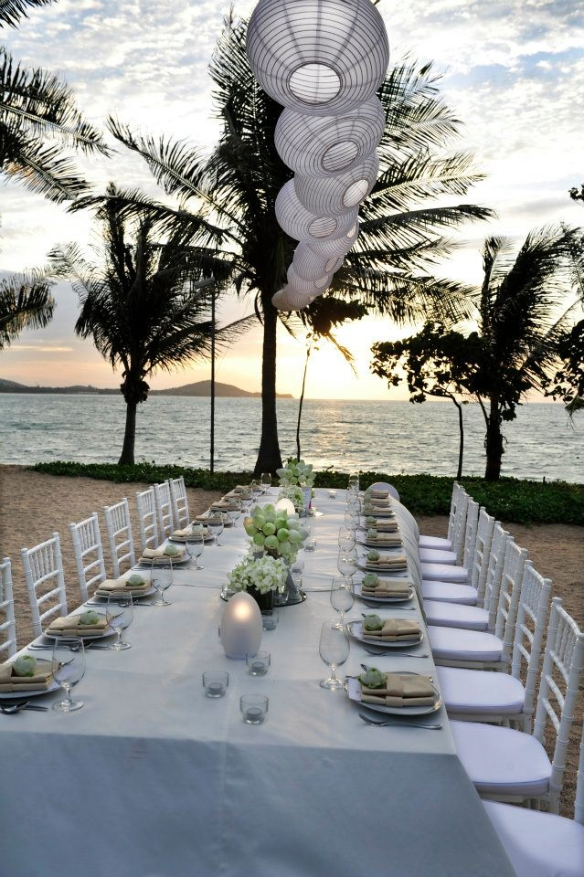 Long Table Set Up Lanterns Green And White Theme Beach