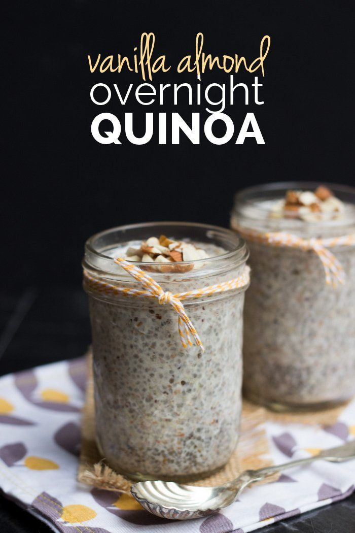 Vanilla Almond Overnight Quinoa : almond milk, quinoa, almond pulp, chia seeds, maple syrup, almond extract, vanilla extract, stevia, almonds.
