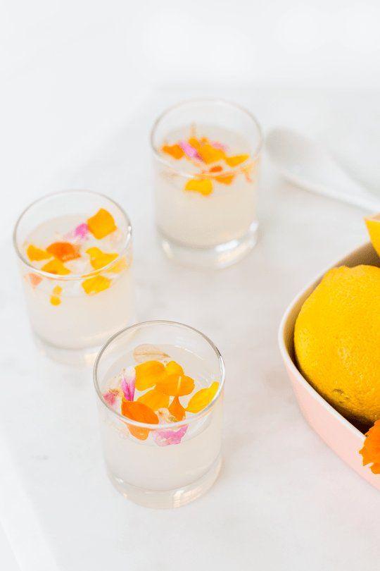 Edible Flower Lemon Jello Shots