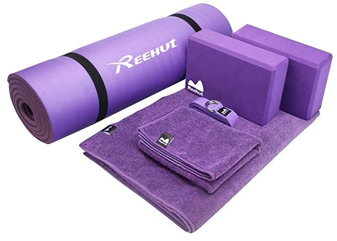 Reehut Yoga Starter Kit 6 Piece Set Includes 1 2 Thick Nbr Exercise Mat 2 Yoga Foam Blocks 1 Hot Yoga Ma Yoga Mat Carrying Strap Yoga Strap Yoga Mat Towel