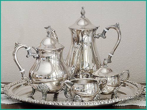 Beautiful Silver service set and silver tray for hire high tea hire napier NZ