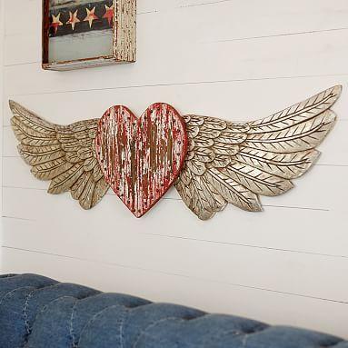 "Junk Gypsy Heart With Wings #pbteen, 62.5"" wide x 15.75"" high x 1.5"" deep, $169"