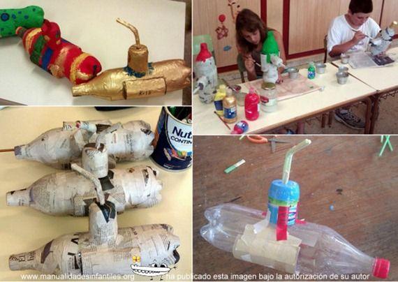 Submarino con botellas de plastico para niños