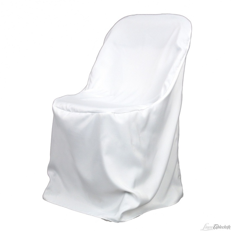 Buy white polyester folding chair covers. These chair covers are 100% polyester, stain resistant, and machine washable.