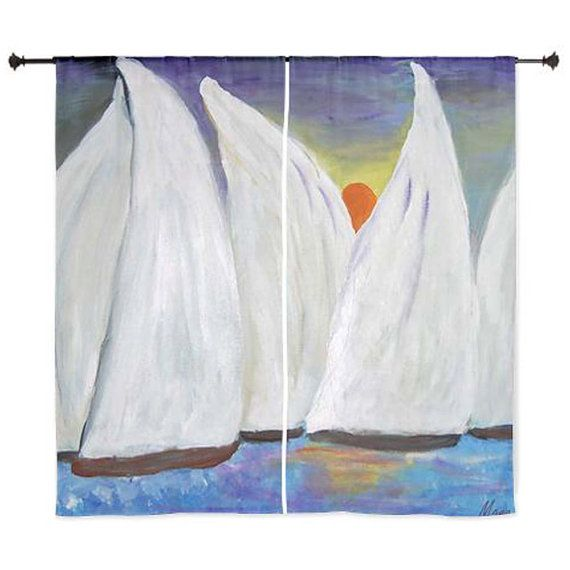Sailboats shear curtains available in 60 or 84 lengths by maremade