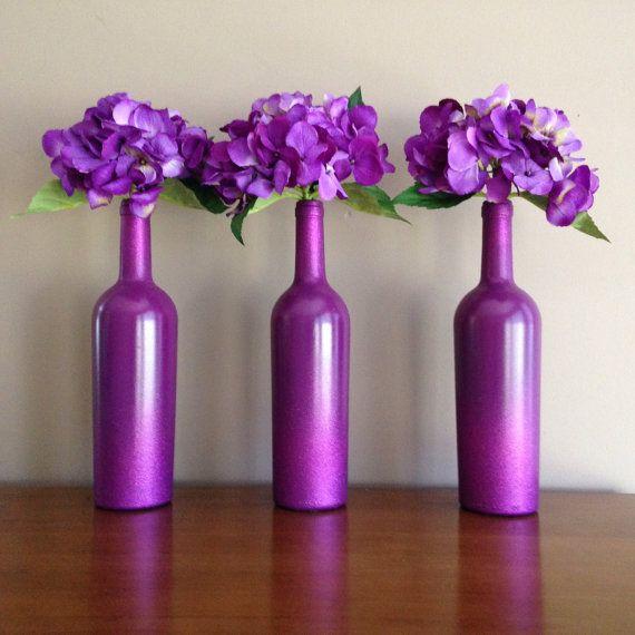 Purple Wine Bottles-Glittered Wine Bottles-Purple Decor-Purple Flowers