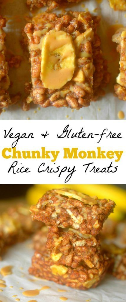 Chunky Monkey Rice Crispy Treats are a homemade healthier makeover of your favorite childhood snack! Only 6 ingredients and Vegan + Gluten-free!