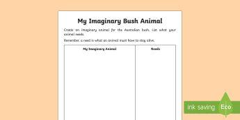 My Imaginary Bush Animal Activity Sheet