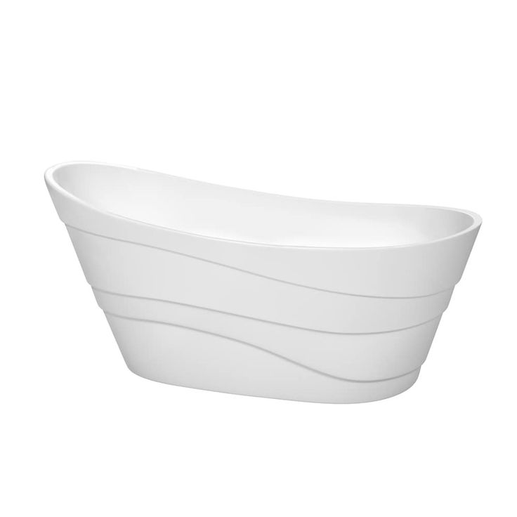Wyndham Collection Kari 67-inch Freestanding Soaking Bathtub in White (chrome trim and tub filler), Size 66 to 71 inches