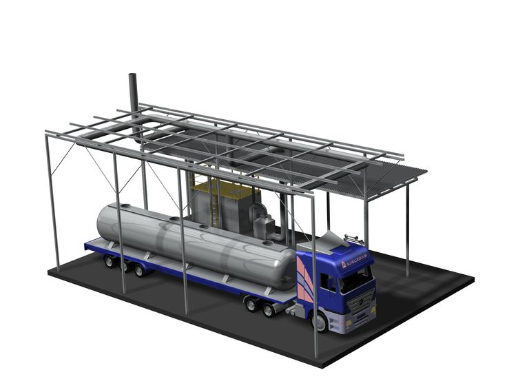Problem with smell and emissions out of control?  Double bed activated carbon adsorber complete with suction line to maximize adsorption of sulfur compounds (H2S and mercaptans) and VOCs from tank truck remediation. Here is the rendering ... soon the installation ...