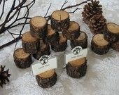Rustic Wood Place Card Holders - Name Card Holders - Table Number Holders - Menu Holders - Rustic Woodland Pine - Eco-Friendly - Set of 14