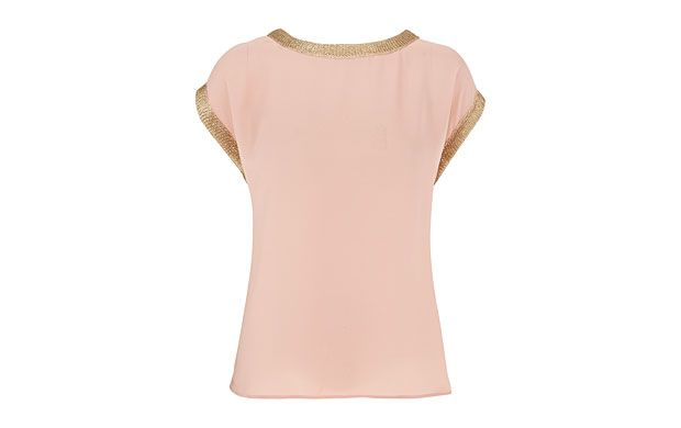 "Chain Stitch Top. ""Peach and gold lace add shimmery richness to a beautifully sophisticated top."""