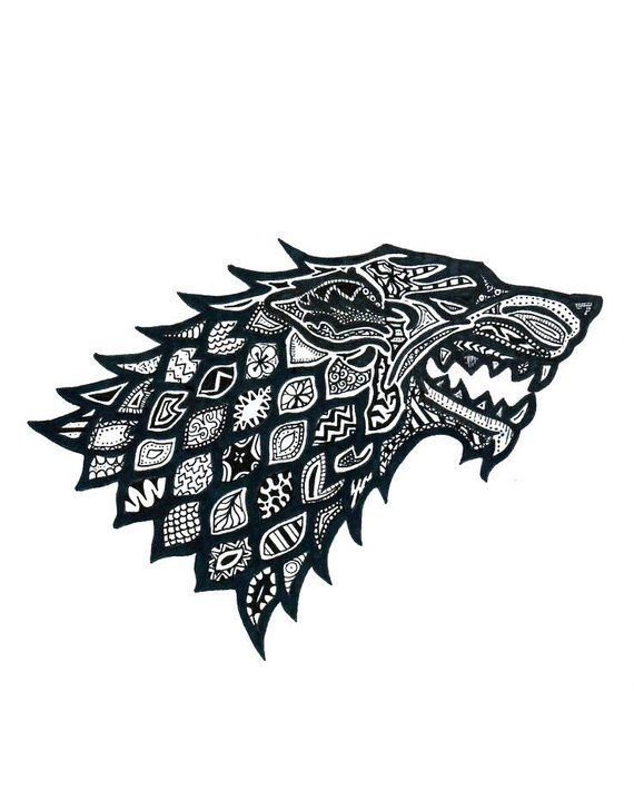 Floral Pattern Wolf Stark House Game Of Thrones Vector Svg Cdr Pdf Files Instant Downlo Game Of Thrones Tattoo Game Of Thrones Art Game Of Thrones Drawings
