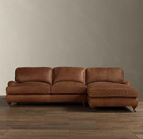 rhu0027s english roll arm leather rightarm chaise rounded english arms and large loose cushions on the angled back give english