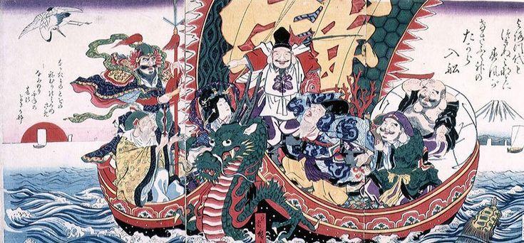 Les 7 divinités japonaises du bonheur sur leur bateau à tête de dragon.