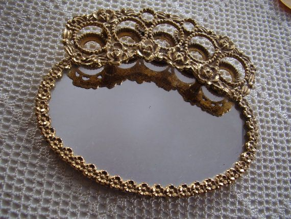 Vintage Vanity Lipstick Holder Mirrored Tray OBSESSED with these.