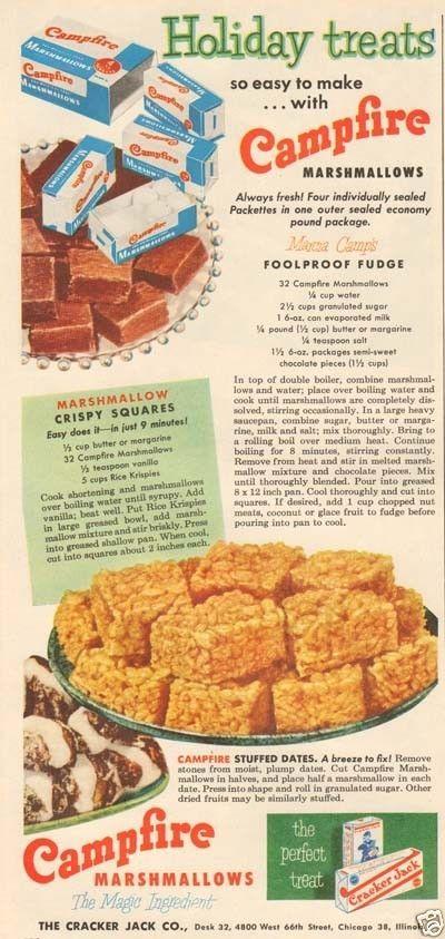 50s vintage CAMPFIRE Marshmallow RICE KRISPIES Treat FUDGE CANDY Cracker Jack AD