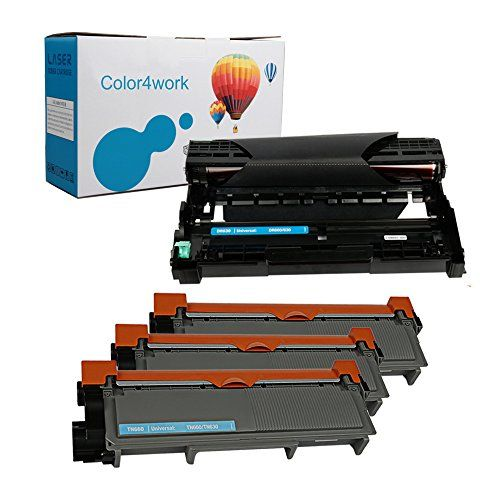 Color4work Brother 1 Drum DR630 + 3 Toner Cartridge TN660/TN630 High Yield Replacement for Printer Brother HL L2340DW L2300D L2380DW L2320D MFC L2700DW L2740DW DCP L2540DW L2520DW MFC L2720DW L2740DW #Colorwork #Brother #Drum #Toner #Cartridge #TN/TN #High #Yield #Replacement #Printer