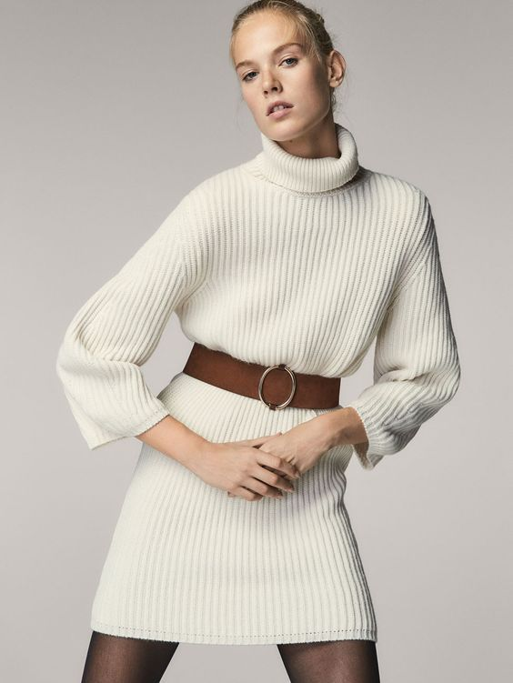 e20987a8f92 Spring Summer 2017 Women´s PURL KNIT DRESS WITH PUFF SLEEVES at Massimo  Dutti for 799. Effortless elegance!