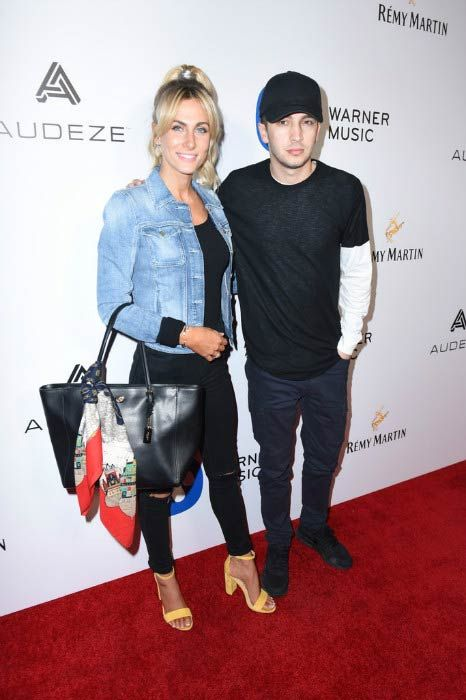 Tyler Joseph and wife Jenna Black at the Warner Music Group's GRAMMY Party in February 2017...