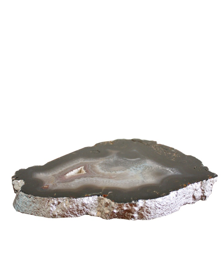 Agate Platter with Silver Leaf Edge