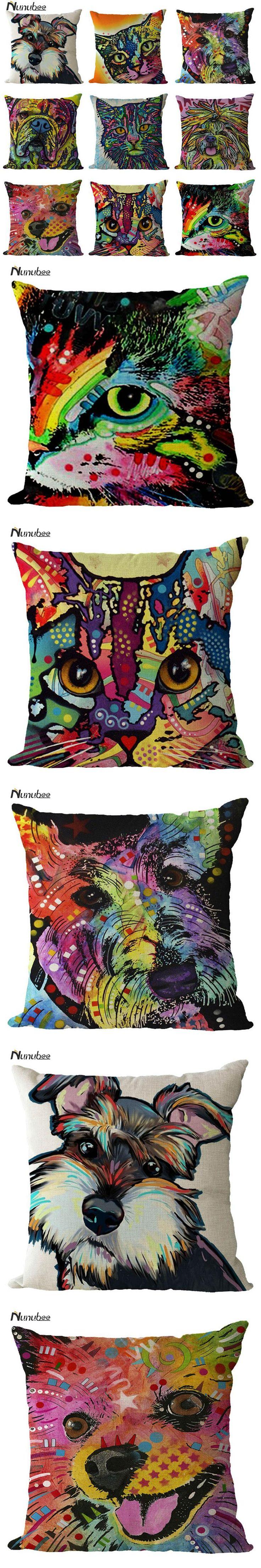 CushionCover Funny Pig Dog Cat Color Painting CushionLinen Throw Pillows Car Sofa Cushion Decorative Pillowcase decorativos